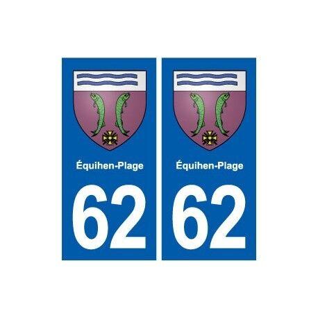 62 Équihen-Plage blason autocollant plaque stickers ville -  Angles : droits