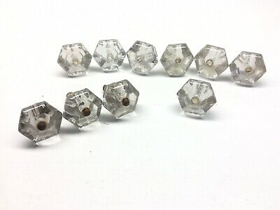 """Clear Glass 10 Sided Cabinet Door Drawer Pull Knob 1-5//16/"""" Width 1 Antique Retro"""
