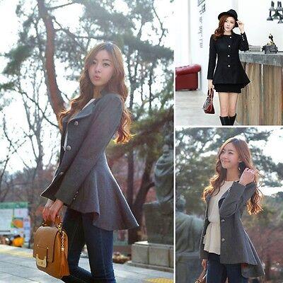Elegant Women Tailcoat Slim Wool Coat Long Sleeve Casual Suit Outwear Jacket