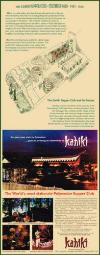 "1970/'s KAHIKI TIKI POLYNESIAN NIGHT CLUB LAYOUT /& AD COLUMBUS OHIO 11/""x28/""!"