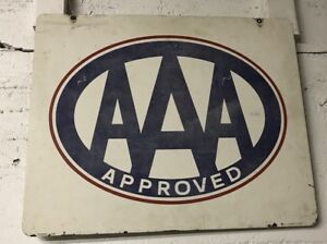 Vintage Aaa Approved Auto Repair Metal Not Porcelain Hanging Sign 2