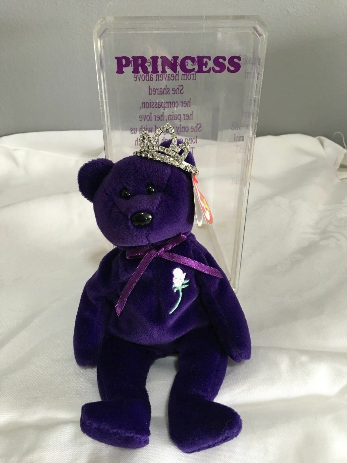 1997 Ty Beanie Baby Princess Bear 1st Edition PVC No Space With Tiara MINT