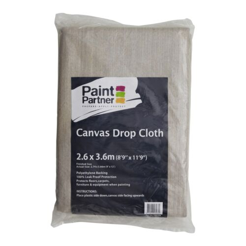 Washable /& Reusable Paint Partner CANVAS DROP SHEET 2.6x3.6m Polyethylene Back