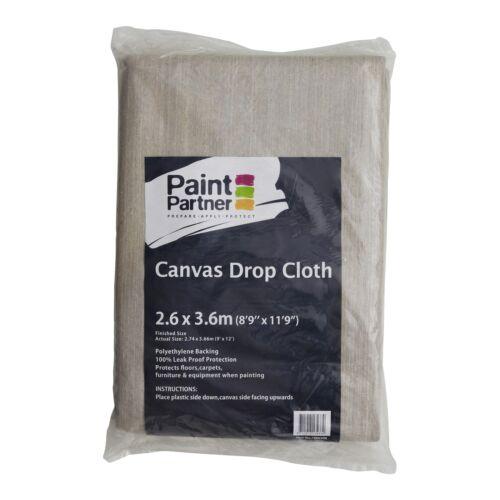Washable /& Reusable Paint Partner CANVAS DROP SHEET 2.6x3.6m Polyethylene Back