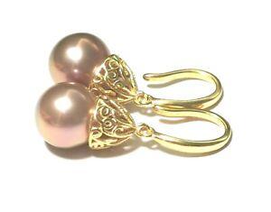 Amazing-Edison-Cultured-Purple-Rose-Green-Round-11mm-Pearl-Dangle-Hook-Earrings