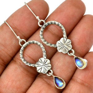Rainbow-Moonstone-India-925-Sterling-Silver-Earrings-Jewelry-AE96871-155H