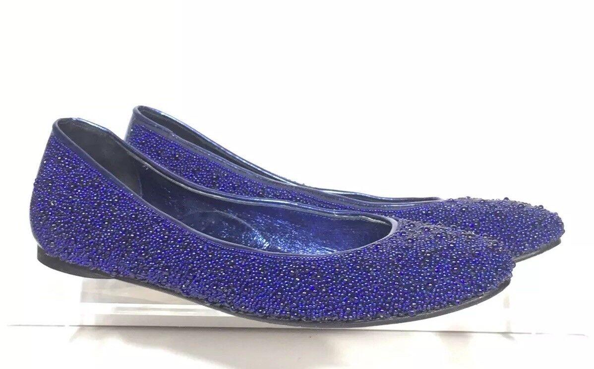 Donald J Pliner Akeem 2 bluee Beaded Gem Flat Loafer shoes Sz 8.5