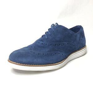 Womens-Cole-Haan-Lunar-Grand-oxfords-wingtips-blue-suede-shoes-sz-8-5