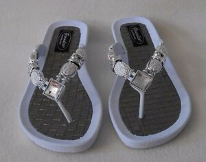 8736a32b3969c0 Image is loading WHITE-GRANDCO-SANDALS-Silver-Bling-amp-White-GEMSTONES-