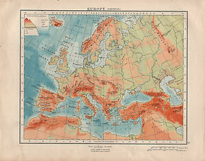 1914 MAP ~ EUROPE PHYSICAL ~ LAND HEIGHTS ~ SPAIN ITALY SCANDINAVIA ...