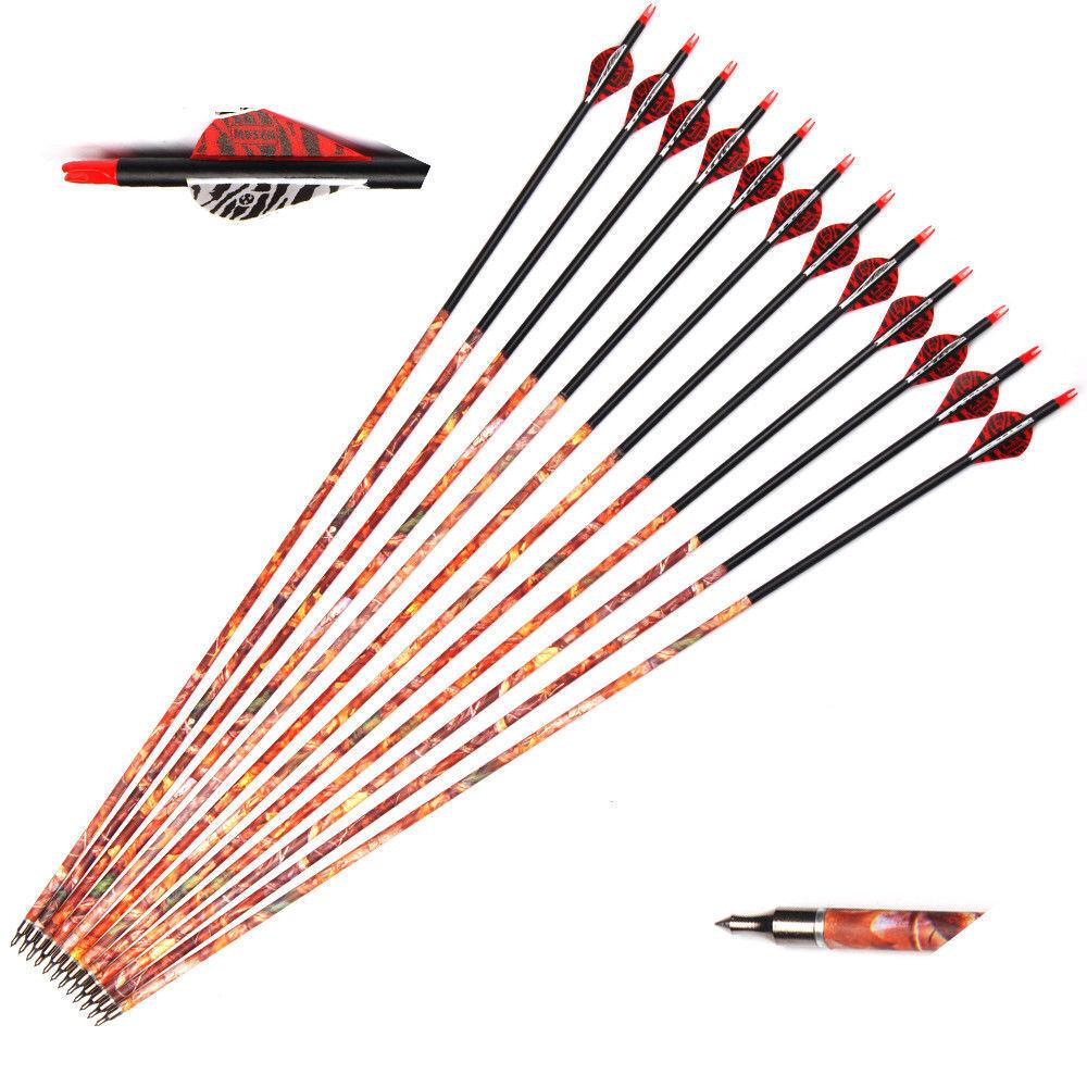 24 un. Musen 30  Flechas De Cochebono mixto Camo columna verdeebral 500 flechas W 7.8 MMOD Archery