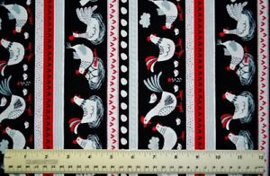 By-the-1-2-yard-100-cotton-fabric-Timeless-Treasures-Chicken-Stripe-Hens-Nests