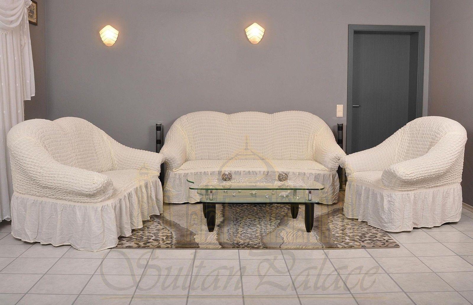 Sofá sillón de referencia referencia funda del asiento 3er+2er+1er sofá cubierta de sujeción referencia crema Krem