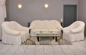 sofabezug sesselbezug sitzbezug 3er 2er 1er sofa husse spannbezug creme krem ebay. Black Bedroom Furniture Sets. Home Design Ideas
