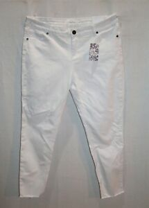 Lily-Loves-Brand-White-Raw-Hem-Skinny-Leg-Denim-Jeans-Size-16-BNWT-SO69