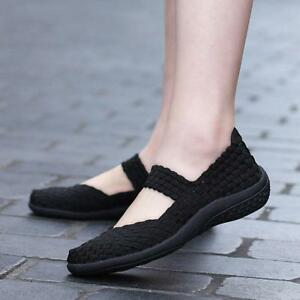 Walking-Woven-Elastic-Mary-Jane-casual-Flat-loafer-ShoesWomens-ladies-Slip-On