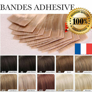 7A-LA-POSTE-EXTENSIONS-DE-CHEVEUX-TAPE-BANDES-ADHESIVE-POSE-A-FROID-NATUREL