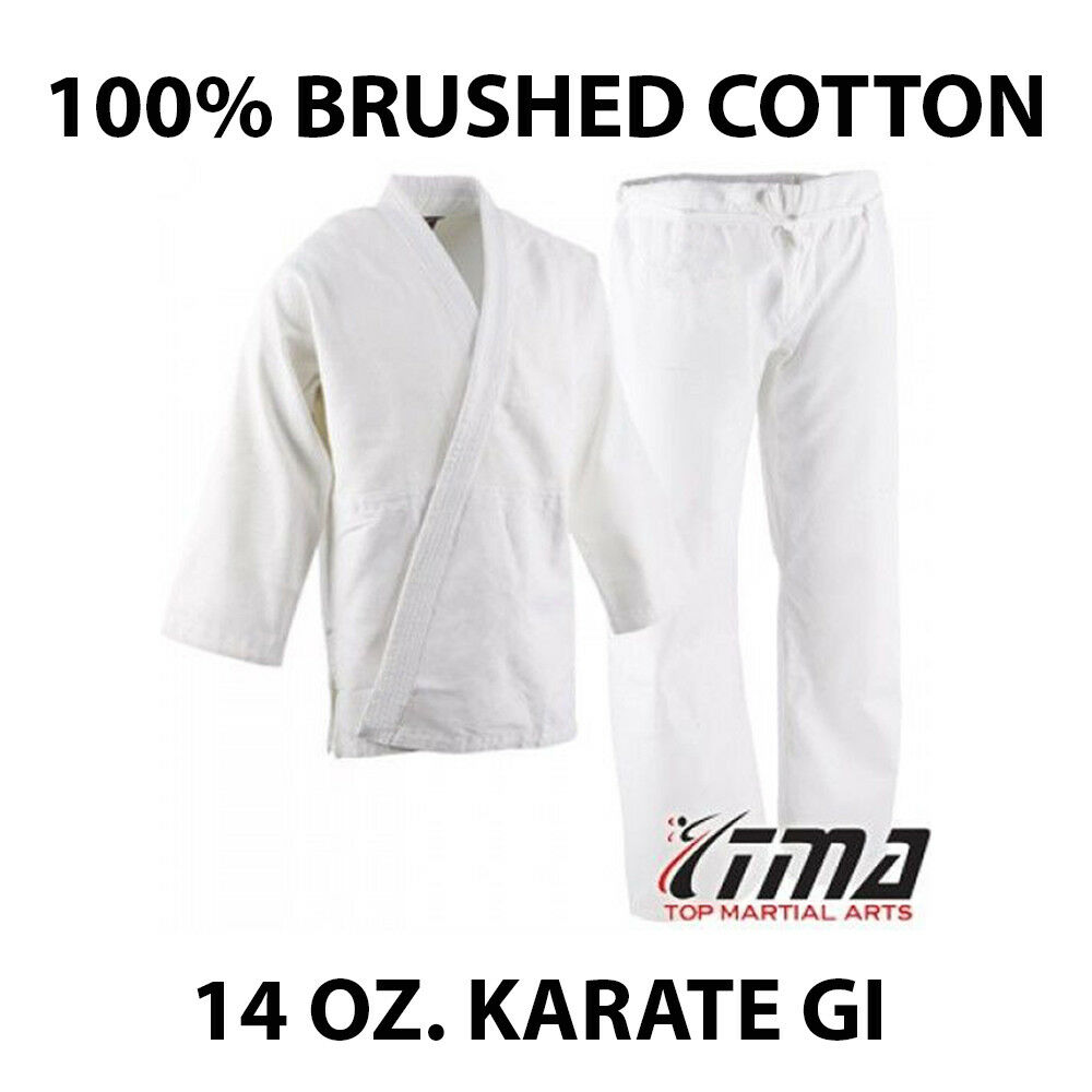 Size 4&5 WHITE 14 Oz. Gi Made of 100% Brushed Cotton Heavy Weight Karate Uniform