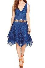POLO Ralph Lauren $389 8 Indigo Draped 100% Cotton Gauze V-Front/Back Dress