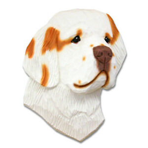 Clumber-Spaniel-Head-Plaque-Figurine-Orange