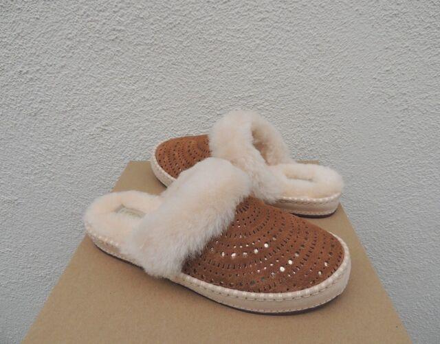 b40a60fd63e UGG Chestnut Aira Sunshine Perf Suede Sheepskin Slippers US 8/ EUR 39