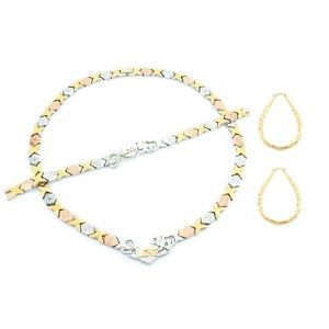 Hugs-amp-Kisses-I-love-You-Necklace-Womens-Tri-color-Bracelet-18-034-XO-Earrings-Set