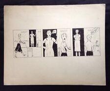 "Vintage 1955 Cartoon Art Ink Drawing by Stanley Kulza    11"" X 14"""