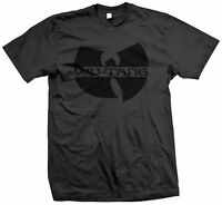 WU TANG CLAN TSHIRT BLACK ON BLACK HIPHOP RAP RZA GZA Method Man Raekwon TOUR