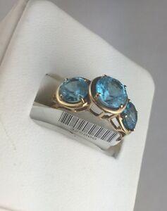 New-14-K-YELLOW-GOLD-STRIKING-Blue-Topaz-RING-SIZE-6