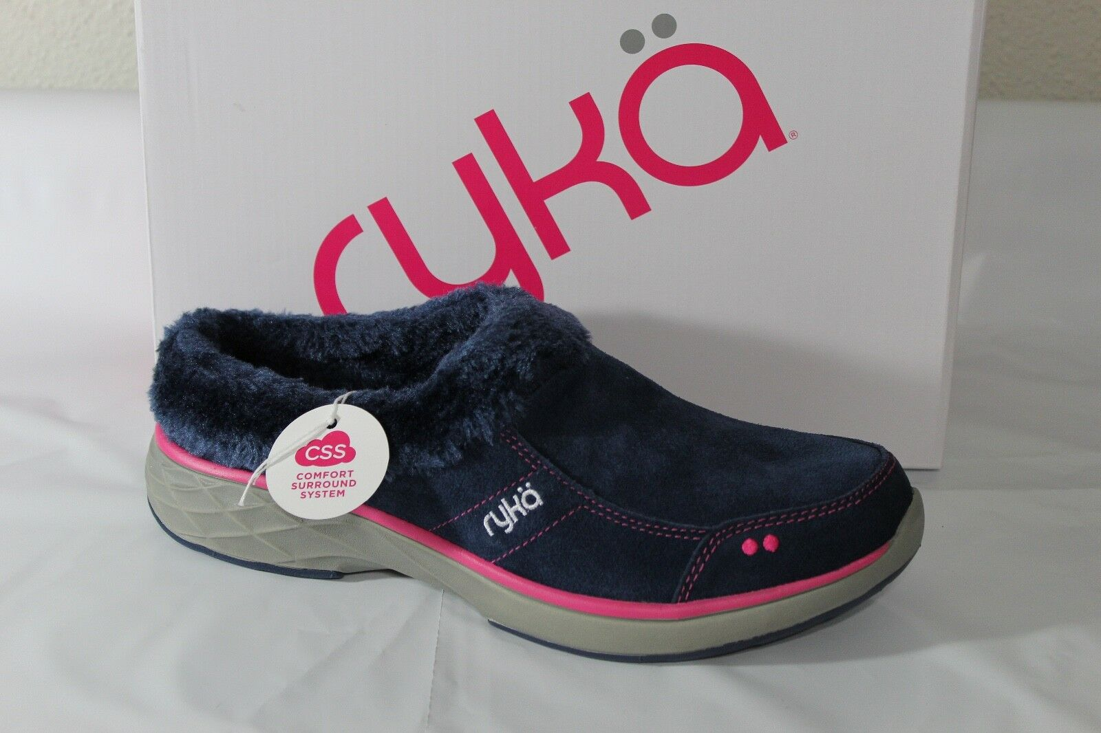 RYKA LUXURY SUEDE  FAUX FUR SLIP-ON Donna CLOGS/SLIPPER, NAVY/PINK, F0347L1400