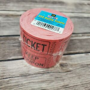 Double Stub Raffle Tickets Prefolded 250 Tickets//Pack Red//White New Free Ship