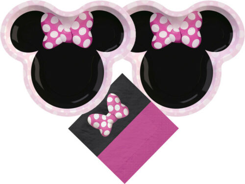 Details about  /Minnie Mouse Party Supplies Bundle with Plates and Napkins for 16 Guests