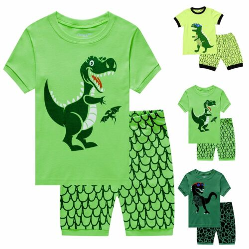 Toddler Kids Baby Boy Girls Summer Dinosaur Pajamas Set Sleepwear Nightwear 1-7Y