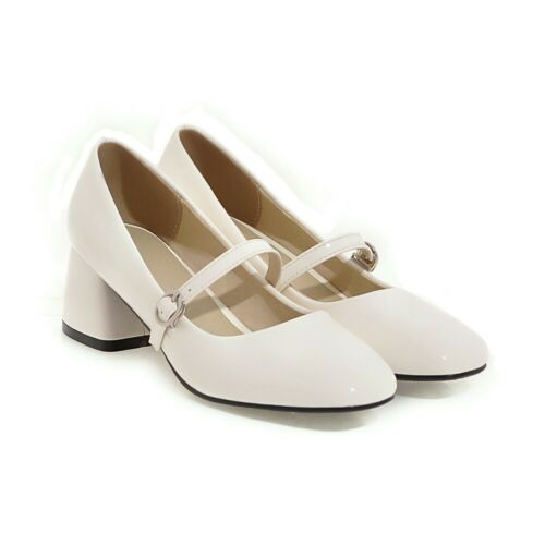 Mary Janes Shoes womens shiny-leather pumps block-heels buckle clubwear girls
