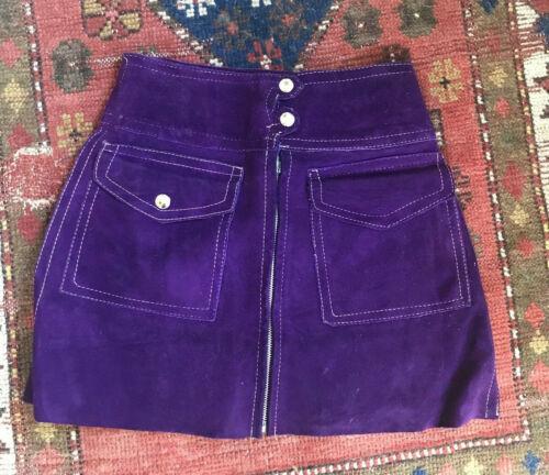 VTG Women's 60s Purple Suede Mini Skirt 1960s Leat