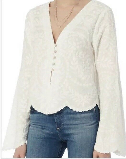 Intermix Weiß Caroline Embroiderot Bell Sleeve Top Small
