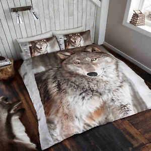 Wolf-Animal-Print-De-Lujo-Cubierta-Del-Edredon-Edredon-Cubierta-Juego-De-Cama-Individual-Doble-King
