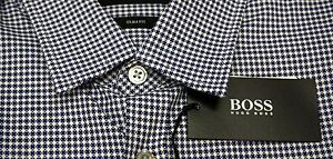 NWT-145-Hugo-Boss-Ronn-Slim-Fit-Short-Sleeve-Blue-Shirt-Mens-Small-Large-NEW