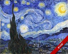 VAN GOGH STARRY NIGHT FINE ART PAINTING 8X10 REAL CANVAS GICLEE PRINT NOT PAPER