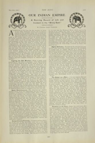 1903 PRINT INDIAN EMPIRE NAVY & ARMY EDITORIAL NEWS SNIPPETS BRITISH EMPIRE