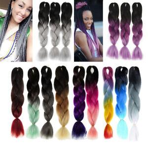5packs 24 Jumbo Braiding Hair Ombre 3 Tone Kanekalon African Braids