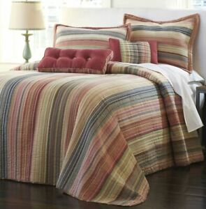 NEW-QUILT-Retro-Chic-TWIN-Cotton-Striped-BEDSPREAD-Striped-Jewel-Oversized