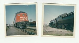 PHOTO-Lot-of-2-Canadian-National-CN-Railway-c-1960-Orig-Kodak-from-slide
