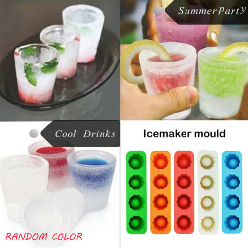Shape Rubber Shooters Ice Cube 4-Cup Shot Glass Freeze Mold Maker Tray