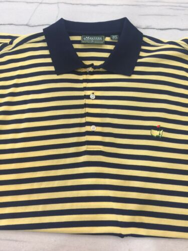 Augusta Masters Golf Polo XL Navy Yellow Stripe Ma
