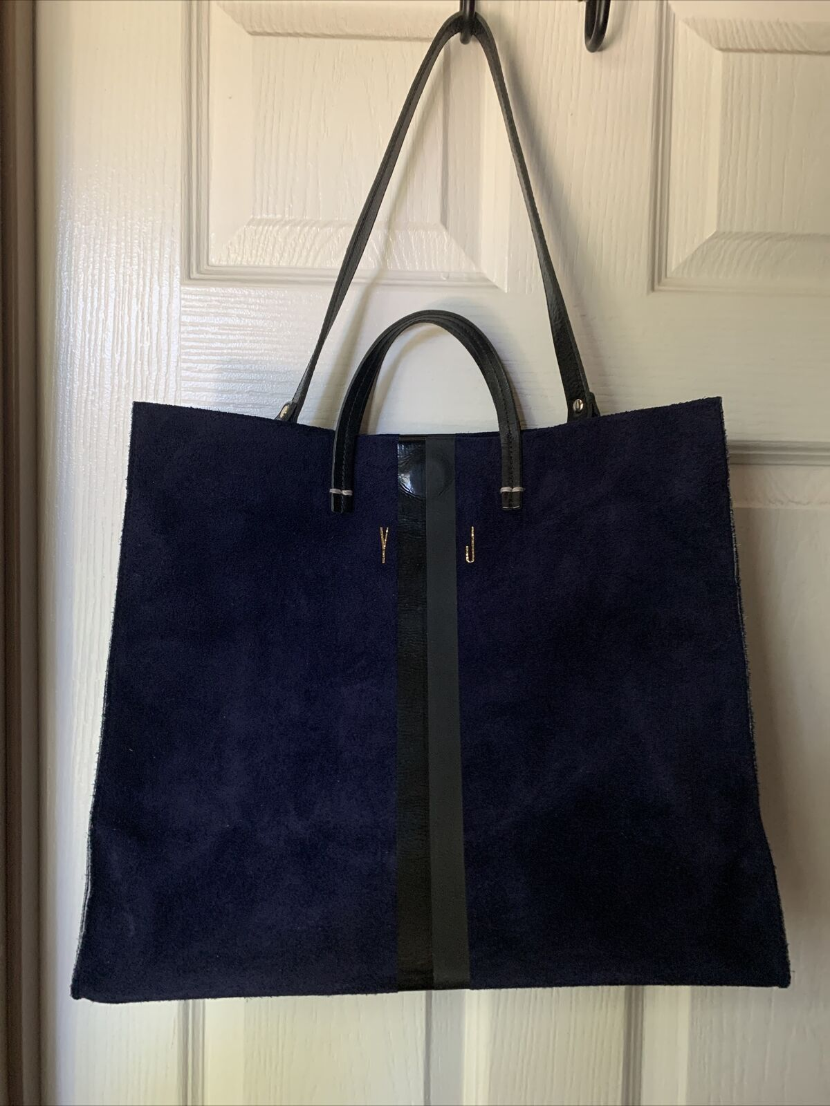 Claire V Simple Blue Suede Tote - image 8