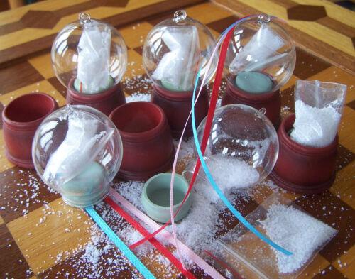 Hanging 48mm three ribbon options resin base Tiny Snow Globe Kits SET OF 12