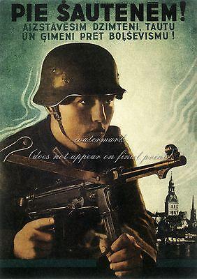 Vintage German Estonia WW2 Canvas or Poster Print ESTONIAN SOLDIER