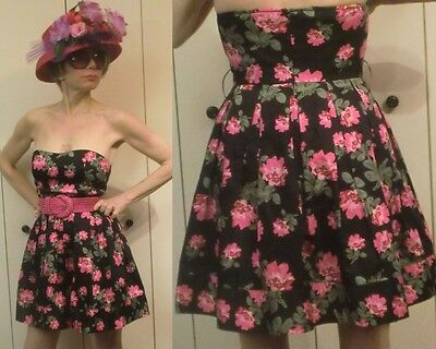 PINUP Rockabily Black Pink Floral Love Lucy BABYDOLL Cocktail Sun  MINIDRESS S