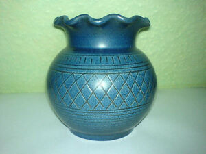 Vase-Wilhelm-Kagel-Keramik-Blau-Ritzdekor-Willi-Garmisch-Partenkirchen-WKP-Blue